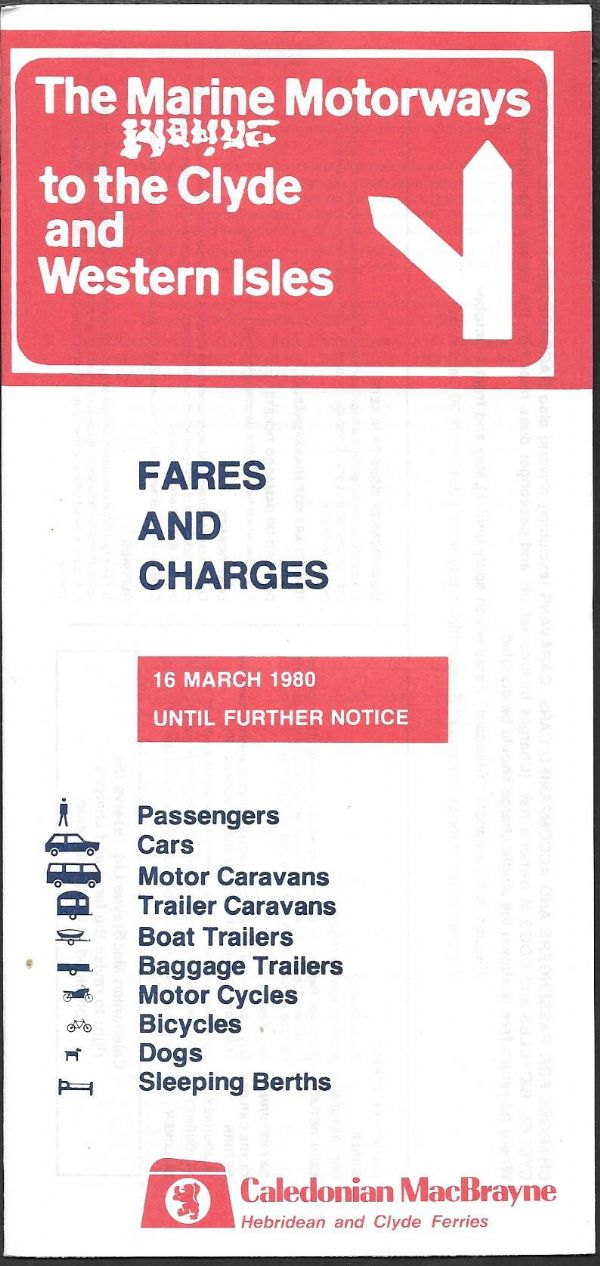 Caledonian MacBrayne - Fares and Charges 1980/3/16 - leaflet